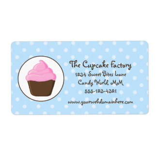 Polka Dot Pink and Brown Cupcake Shipping Label