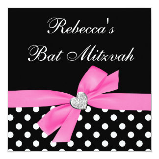 Polka Dot Pink Black Bow Heart Bat Mitzvah 13 Cm X 13 Cm Square Invitation Card