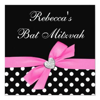 Polka Dot Pink Black Bow Heart Bat Mitzvah Card