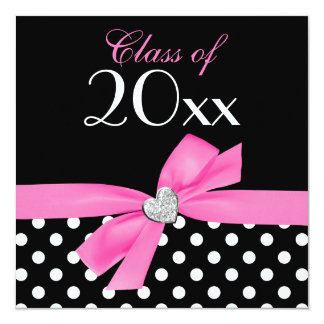 Polka Dot Pink Black Bow Heart Graduation Party Card