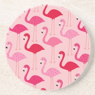 Polka Dot Pink Painted Flamingo Pattern Drink Coasters