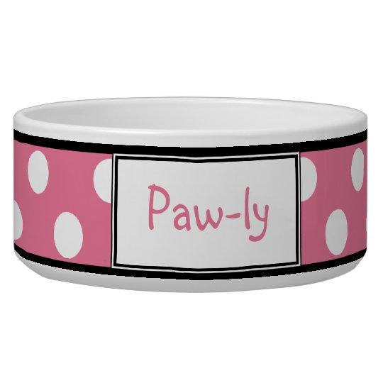 Polka Dot Pink Personalised Dog Bowl