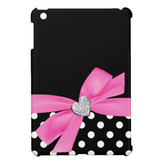Polka Dot Pink Printed Bow Diamond Heart iPad Mini Covers