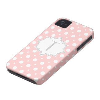 Polka dot pink, white, grey monogram girly iPhone 4 Case-Mate cases