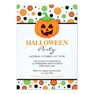 Polka Dot Pumpkin Halloween Party Invitations