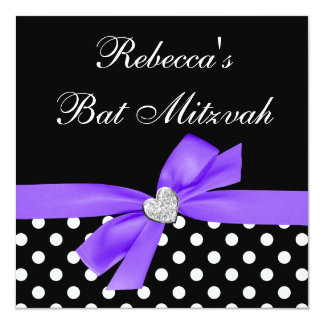 Polka Dot Purple Black Bow Heart Bat Mitzvah 13 Cm X 13 Cm Square Invitation Card