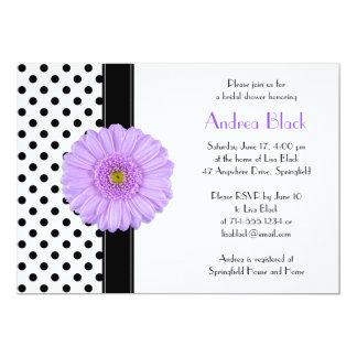 Polka Dot Purple Daisy Bridal Shower Invitation