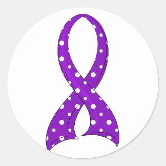 Polka Dot Purple Ribbon Pancreatic Cancer Round Sticker