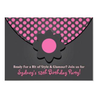 """Polka Dot Purse Birthday Party Invitations 5"""" X 7"""" Invitation Card"""