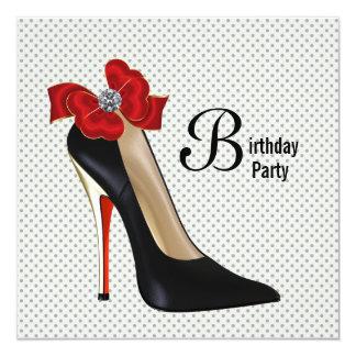 Polka Dot Red Black High Heel Shoe Birthday Party 13 Cm X 13 Cm Square Invitation Card