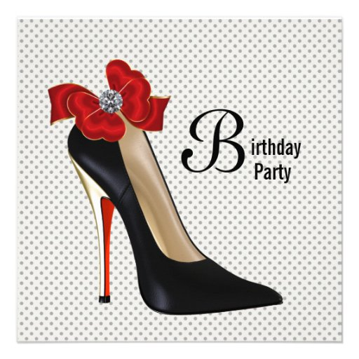 Polka Dot Red Black High Heel Shoe Birthday Party Custom Invitation