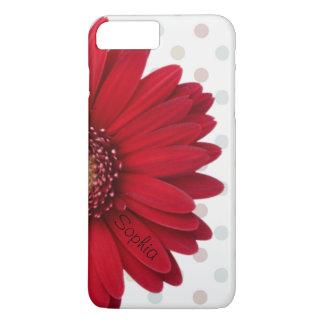 Polka Dot Red Daisy Custom Name iPhone 7 Plus Case