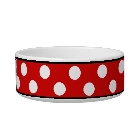 Polka Dot Red Personalised Cat Bowl