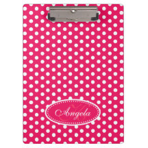 Polka dot red pink name and initial clipboard