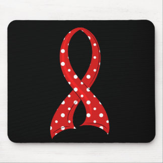 Polka Dot Red Ribbon Blood Cancer Mouse Pad