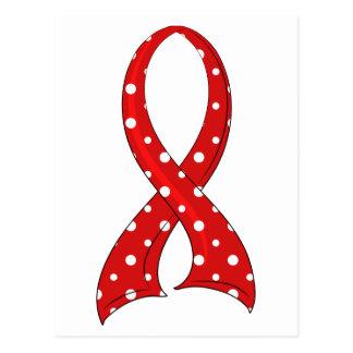 Polka Dot Red Ribbon Heart Disease Postcard