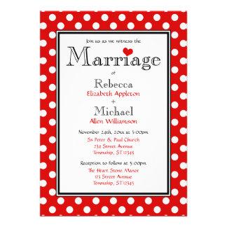Polka Dot Red Wedding Invitations