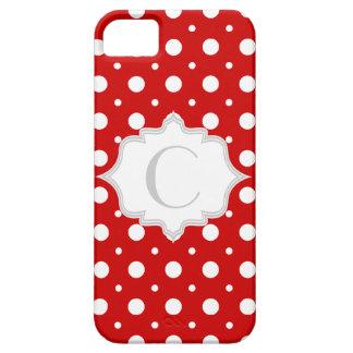 Polka dot red, white, grey monogram girly iPhone 5 case