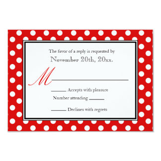 Polka Dot Red & White RSVP Reply Cards 9 Cm X 13 Cm Invitation Card