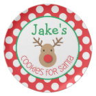 Polka Dot Reindeer - Cookies for Santa Plate