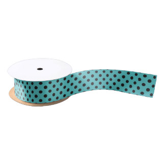 Polka Dot Ribbon Black on Pool Blue Satin Ribbon