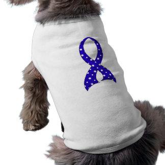 Polka Dot Ribbon Rectal Cancer Doggie T Shirt