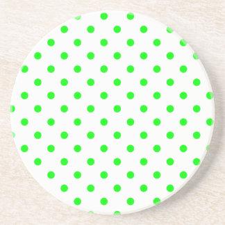Polka Dot Series---Green & White coaster