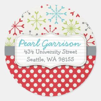 Polka dot & Snowflake Circle Return Address Label