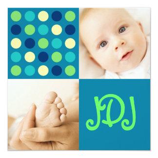 "Polka Dot Square Initials Blue 5.25"" Square Invitation Card"