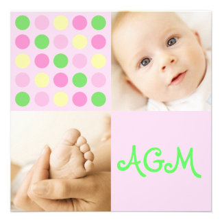 Polka Dot Square Initials Pink Custom Announcement