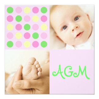 "Polka Dot Square Initials Pink 5.25"" Square Invitation Card"