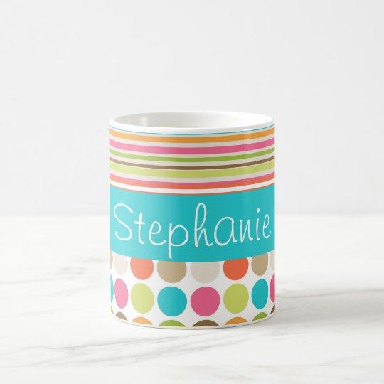 Polka Dot Stripes Custom Name Coffee Mug