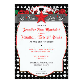 Polka Dot Tattoo Rockabilly Wedding Invitation