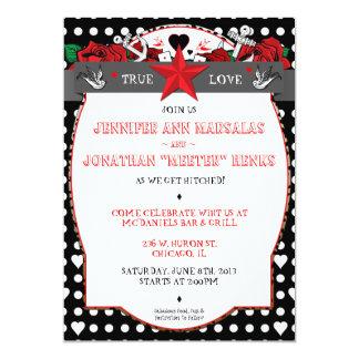 "Polka Dot Tattoo Rockabilly Wedding Invitation 5"" X 7"" Invitation Card"