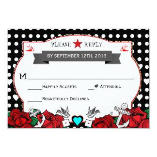 Polka Dot Tattoo Rockabilly Wedding Rsvp Card 9 Cm X 13 Cm Invitation Card