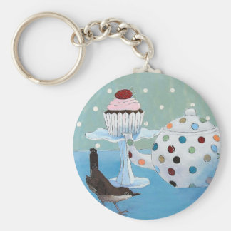 Polka Dot Tea and Wren Key Ring