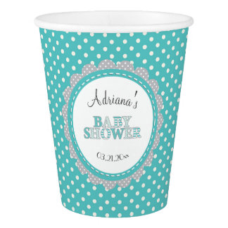 Polka dot teal baby shower paper cup