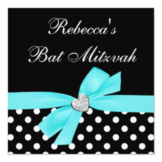 Polka Dot Teal Blue Black Bow Heart Bat Mitzvah 13 Cm X 13 Cm Square Invitation Card