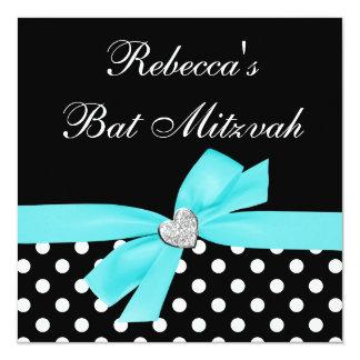 Polka Dot Teal Blue Black Bow Heart Bat Mitzvah Card