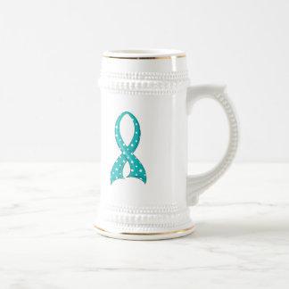 Polka Dot Teal Ribbon PCOS 18 Oz Beer Stein