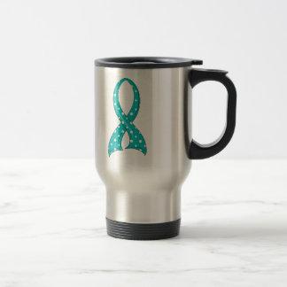 Polka Dot Teal Ribbon PCOS Stainless Steel Travel Mug