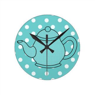 Polka Dot Teapot Round Clock