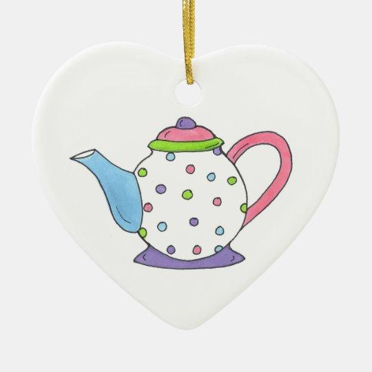 Polka Dot Teapot Tea Pot Personalised Ornament