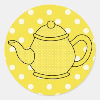 Polka Dot Teapot V2 Round Sticker