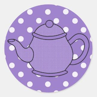 Polka Dot Teapot V3 Round Sticker