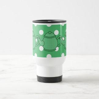 Polka Dot Teapot V5 Stainless Steel Travel Mug