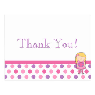 Polka Dot Thank You Card Postcard in Pink & Purple