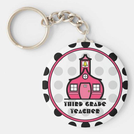 Polka Dot Third Grade Teacher Keychain