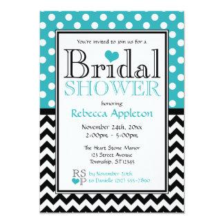 Polka Dot Turquoise & Chevron Bridal Shower Card