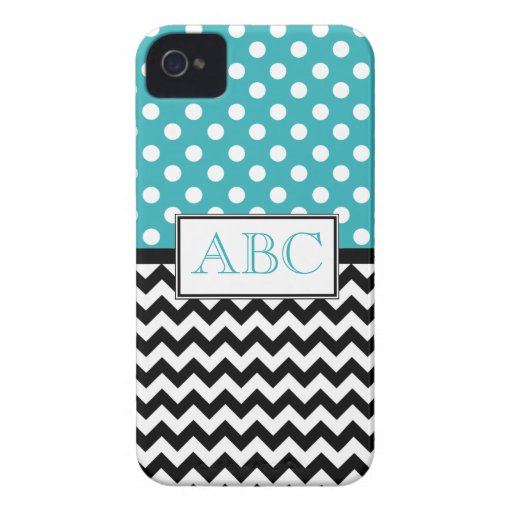 Polka Dot Turquoise & Chevron iPhone 4/4S Case iPhone 4 Case-Mate Cases